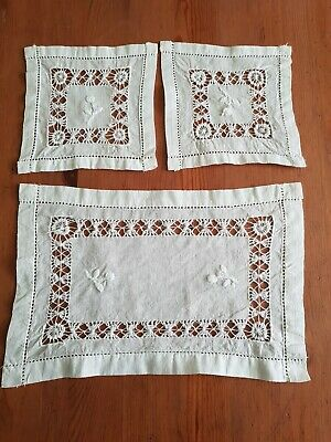 Vintage Three Cutwork & Embroidered Dressing Table Mats • 3.25£