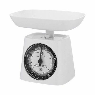 Hanson White Mechanical Kitchen Scales And Bowl Traditional Manual 5kg Capacity • 12.50£