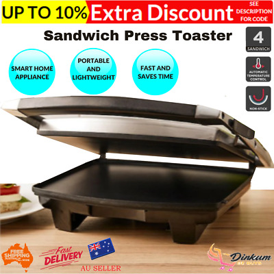 AU52.46 • Buy 4 Slice Sandwich Press Toaster Ham And Cheese Flat Bread Toaster Non Stick Coat