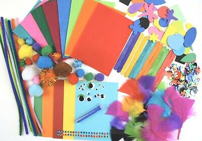 Kids Arts & Craft Box ~ Children's Craft Material Sets  ~ Felt Card Pom Glitter  • 7.99£