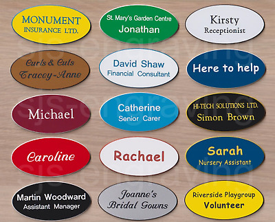 £1.45 • Buy Quality Engraved LARGE OVAL Name Badges - MAGNETIC / PIN BACK - CHOICE OF FONT