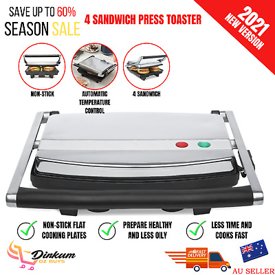 AU59.35 • Buy Cafe Press Stainless Steel 4 Slice 2 Sandwich Maker Grill Toasted Toaster