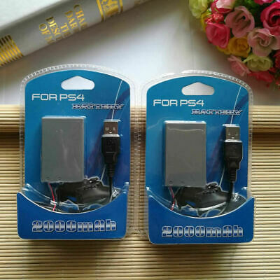 AU19 • Buy 2x Rechargeable Battery For PS4 Controller 2000mAh Replacement & Charging Cable
