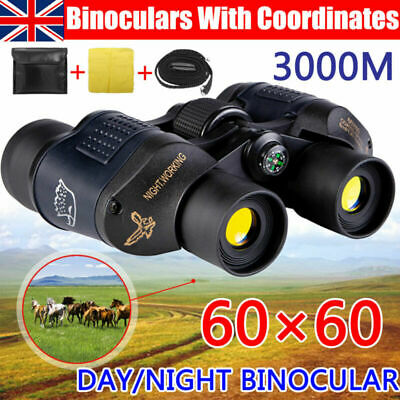 60x60 Day/Night Military Army Zoom Powerful Binoculars Optics Hunting Camping • 18.99£