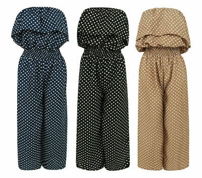 Ladies Playsuit Jumpsuit Wide Leg Bandeau Polka Dot Elasticated Summer Women's • 16.99£