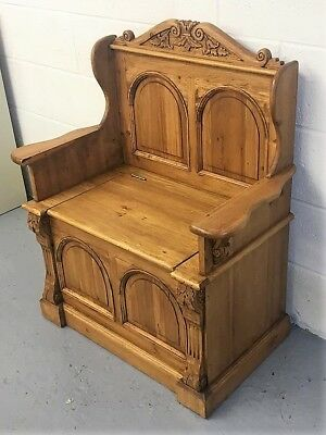 Solid Wood Old Pine Monks Bench Settle With Lift Up Lid For Storage ( In Stock ) • 269£