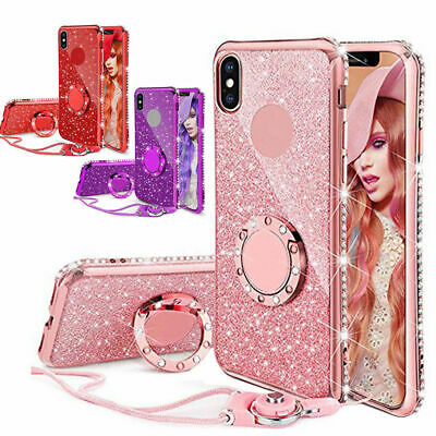 AU10.80 • Buy For IPhone 7 8 Xs 11 12 Pro MAX Bling Crystal Case Soft Cover With Ring &Lanyard