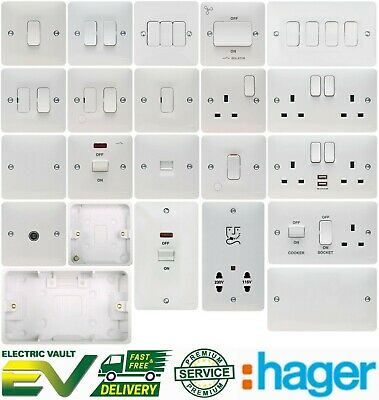 £6.95 • Buy Hager Sollysta Full Range - Switches Sockets & Accessories White Moulded Plastic