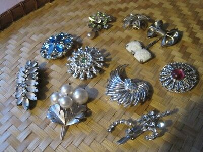 $ CDN38 • Buy COLORFUL BROOCHES Silver Tone 10 Piece Lot Of Vintage Costume Jewelry Beautiful