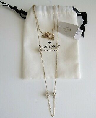 $ CDN66.57 • Buy Kate Spade Clear Crystals Ball Lady Marmalade Station Gold Tone Necklace Jewelry