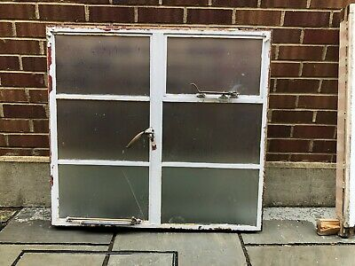 Reclaimed Steel Crittall Window, White, Single Glazed, Frosted Glass • 150£