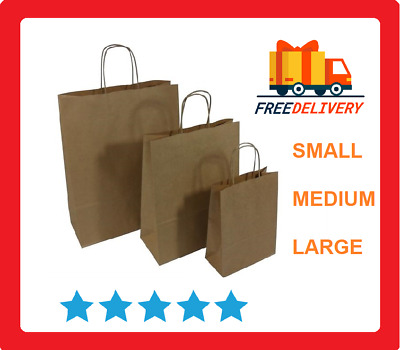 Dark Brown Paper Bags With Strong Twisted Handles Used As Carrier, Gift, Retail • 17£