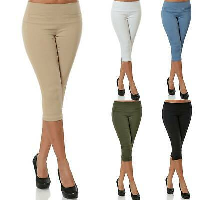 Womens Ladies Three Quarter Trousers Solid Elasticated Waist Capri Cropped Pants • 7.02£