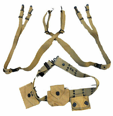$54.99 • Buy WWII M1912 Belt M1936 Suspenders M1942 First Aid Kit Compass M1 Ammo Pouch Set