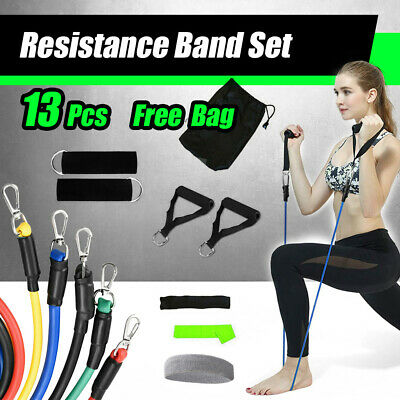 AU18.99 • Buy 13 PCS Resistance Band Set Yoga Pilates Abs Exercise Fitness Tube Workout Bands