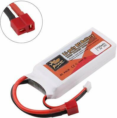 ZOP Power 2200mAh 7.4V 35C 2S LiPo Battery T Plug For RC Car Airplane Helicopter • 14.65£