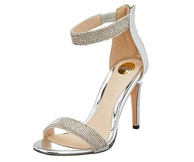 Buffalo Women's Ankle Strap Silver Diamond Sandals Heels Shoes Size UK 6.5   • 14.99£