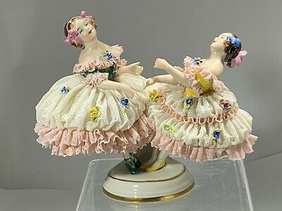 $ CDN292.83 • Buy  19th Dresden VOLKSTEDT Porcelain Lace Figurine  Double Dancers Twirling