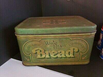 $20 • Buy Vintage 1970's WHEAT HEART BREAD Tin Box With Hinged Lid