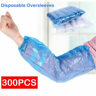 300PC BLUE Disposable Plastic Arm Sleeves Covers Oversleeves Cleaning Protective • 8.99£