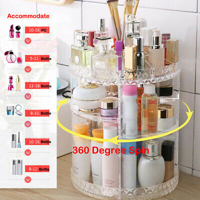 360 Degree Rotating Makeup Cosmetic Organiser Storage Box Jewelry Display Case • 10.88£