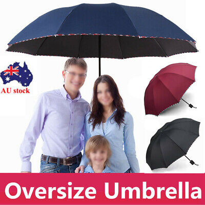 AU17.29 • Buy New 125CM Large Folding Umbrella 10Ribs Windproof Anti-UV Compact Black/Red