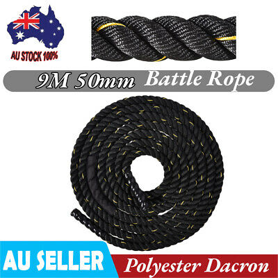 AU94.76 • Buy 9M 50mm Battle Rope Gym Exercise Fitness Strength Power Training Workout 13KG Bt