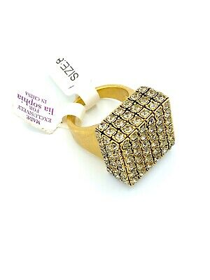 $ CDN40.74 • Buy LIA SOPHIA Matt Gold Square Paved Rhinestone Statement Cocktail Sz 8 RARE!