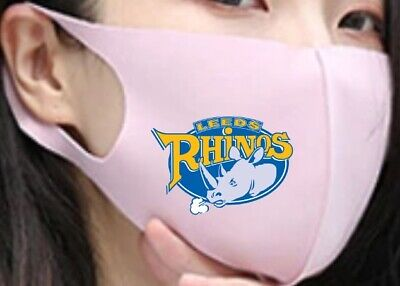 Face Mask Washable Reusable Facemask Mouth Nose Cover Fabric Leeds Rhinos Rugby • 6.95£