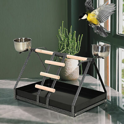Bird PlayStand With Wooden Perch Ladder Feeding Cups For Macaw Parrot Conure • 23.99£