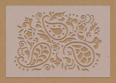 £4.99 • Buy Paisley Large Floral Swirl Stencil Tiles Crafting Wall Reusable