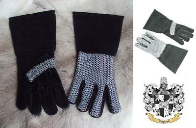 Medieval Leather Gloves With Chainmail. Gauntlets For Re-enactment Stage & LARP • 38£