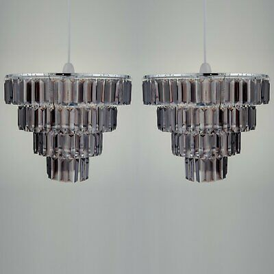 Set Of 2 Easy Fit Ceiling Light Shades Smoke Acrylic Crystal 4 Tier Chandelier D • 19.99£