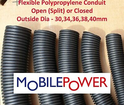 £5.79 • Buy 30 To 40mm Black Flexible Plastic Conduit By The Metre Split(Open) OR Closed