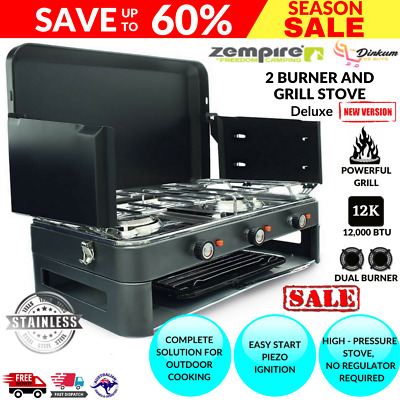 AU207.99 • Buy Deluxe 2 Burner Grill Stove Grill Camping Kitchen Cooking Portable Gas Outdoor