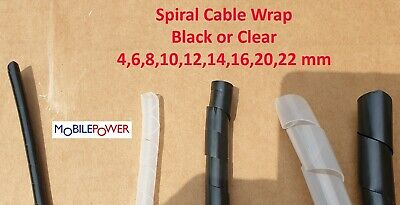 £1.20 • Buy Spiral  Bundle Cable Wrap Flexible Plastic Conduit By The Metre Black Or Clear