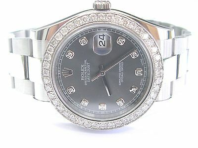 $ CDN14000.69 • Buy Rolex Datejust Rhodium Dial SS Oyster Automatic Mens Watch Diamond Dial 116334