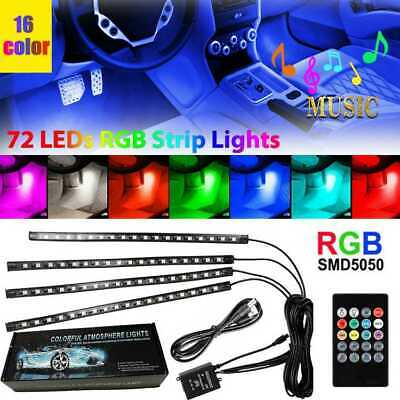 $16.75 • Buy 4PCS 72 LED Car Interior USB Music Light Lights Strip Wireless IR Remote Control