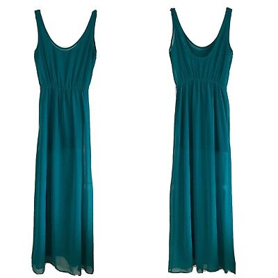 $14 • Buy Zara Teal Maxi Dress Size Small Size Small Scooped Neck Elastic Waistband
