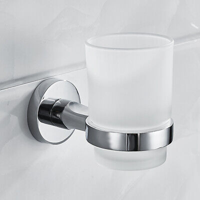 Bathroom Chrome Toothbrush Tumbler Holder With Glass Cup Wall Mounted • 8.69£