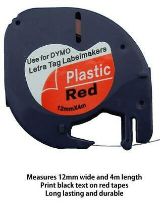 AU7.50 • Buy 1PK 91203 Compatible Dymo LetraTag LT-100H Red Plastic Label Tape 12mm X 4m