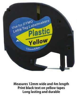 AU7.50 • Buy 1PK 91202 Compatible Dymo LetraTag LT-100H Yellow Plastic Label Tape 12mm X 4m