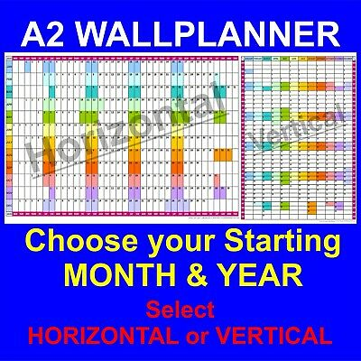 12 Month Colour Coded A2 YEAR WALLPLANNER Office Organiser, Event Planner • 5.67£