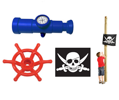 Kids Pirate Flag Telescope With Compass Pirate Steering Wheel For Climbing Frame • 39.99£