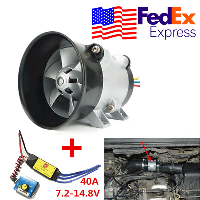 $49.19 • Buy 12V Car Electric Turbo Supercharger Kit Air Intake HP Boost Fan W/ ESC From USA