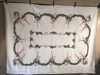$ CDN84 • Buy Vintage MCM Christmas Tablecloth Candle Holly Garland Large 58 X 76 Gorgeous