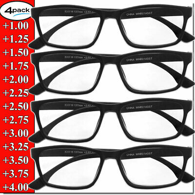 $7.95 • Buy Reading Glasses Mens Womens Unisex Readers 4 PACK Square Frame New Style Quality