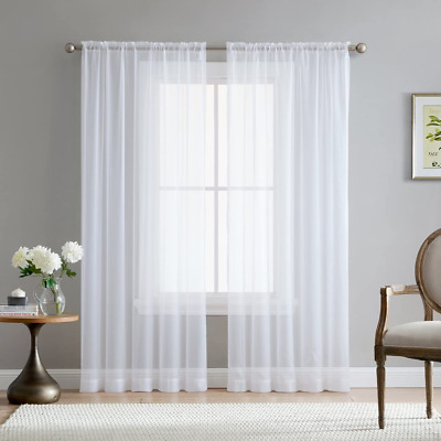 $35.53 • Buy Hlc.Me White Sheer Voile Window Treatment Rod Pocket Curtain Panels For Kitchen,