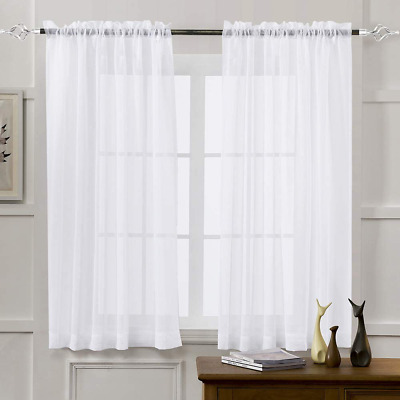 $42.20 • Buy Mystic-Home Sheer Curtains White 63 Inch Length, Rod Pocket Voile Drapes For Liv