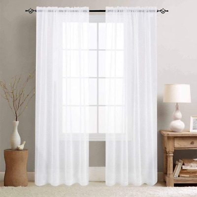 $64.42 • Buy White Sheer Curtains For Living Room 84 Inch Length Window Treatment Sets Rod Po